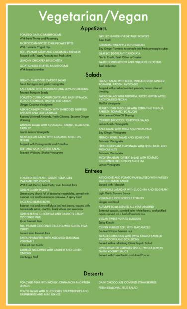 Vegan/Vegetarian Menu